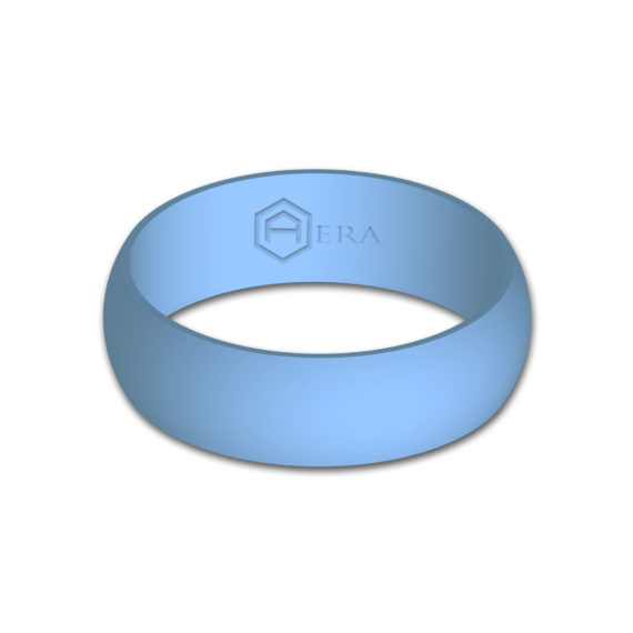 Mens Baby Blue Silicone Ring