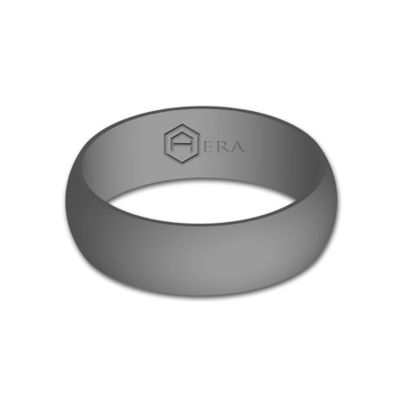 Mens Gray Silicone Ring