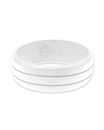 Ridged Mens White Ring